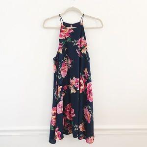 Everly Navy Floral Halter Shift Chiffon Dress